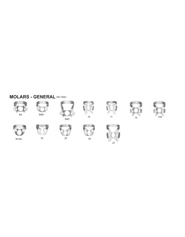 Stainless Steel Rubber Dam Clamps Molars - General